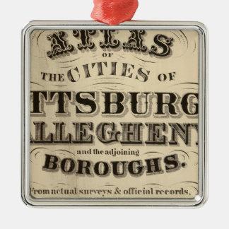 Página de título atlas de Pittsburgh, Allegheny Adorno Navideño Cuadrado De Metal