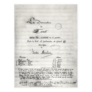 Página de título de 'La Damnation de Faust' Postal
