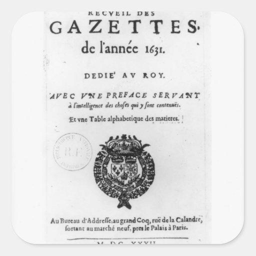 Página de título de la primera colección de 'La Calcomanía Cuadrada