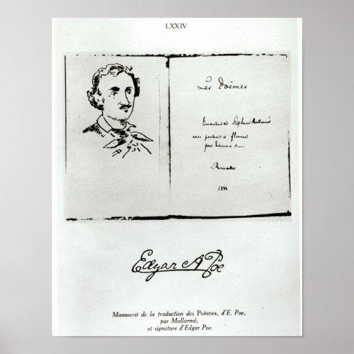 """Página de título de """"Les Poemes"""" por Edgar Allan P Poster"""