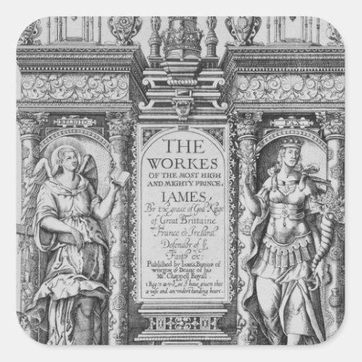"""Página de título """"de los trabajos de James I"""", Pegatina Cuadrada"""