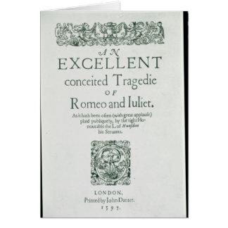 Página de título de 'Romeo y de Juliet Tarjeta De Felicitación