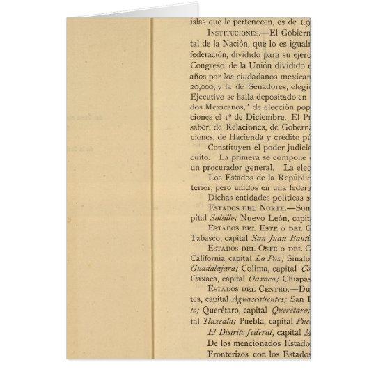 Página de título del atlas 1874 de México Tarjeta De Felicitación