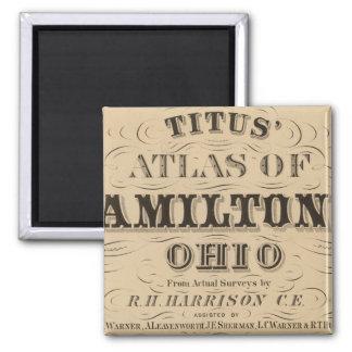 Página de título del atlas del condado de Hamilton Imán Cuadrado