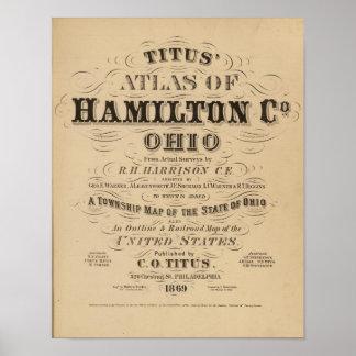 Página de título del atlas del condado de Hamilton Póster