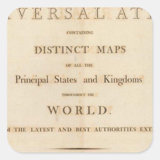 Página de título del nuevo atlas universal pegatina cuadrada