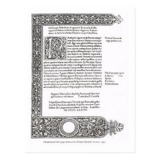 Página de título, Venecia 1477 Tarjetas Postales