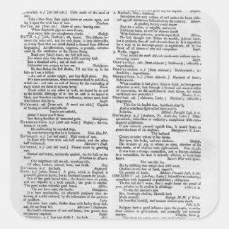 Página de un diccionario pegatina cuadrada