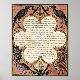 Página de una biblia hebrea con los pájaros, 1299 poster