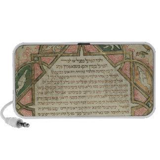 Página de una biblia hebrea que representa altavoz