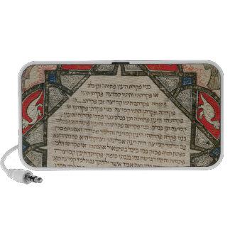 Página de una biblia hebrea que representa pescado iPod altavoces