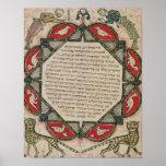 Página de una biblia hebrea que representa pescado poster