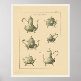 Página del catálogo de los potes del té del vintag impresiones