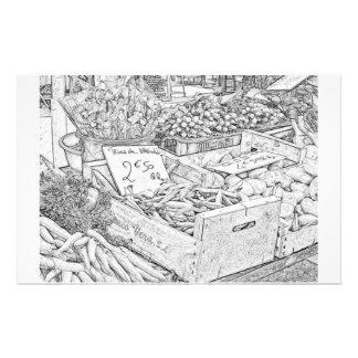 Página del colorante del mercado del granjero papeleria