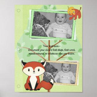 Página del libro del bebé del Fox del arbolado Póster