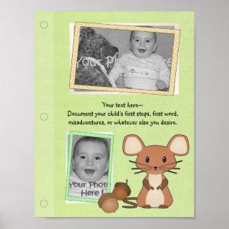 Página del libro del bebé del ratón del arbolado póster