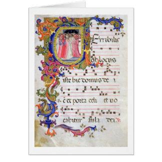 """Página del ms 557 f.61v con """"U inicial historiated Tarjeta De Felicitación"""