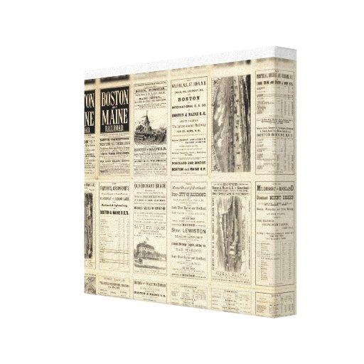Página del texto del ferrocarril de Boston y de Ma Impresion De Lienzo