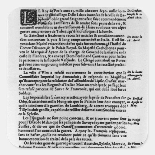 Página del texto del 'La Gazette Calcomanía Cuadradas Personalizadas