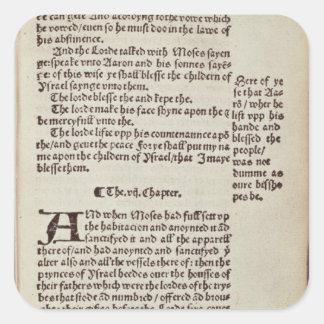 Página del texto del viejo testamento pegatina cuadrada