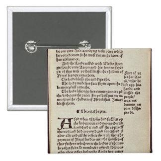 Página del texto del viejo testamento pin cuadrado