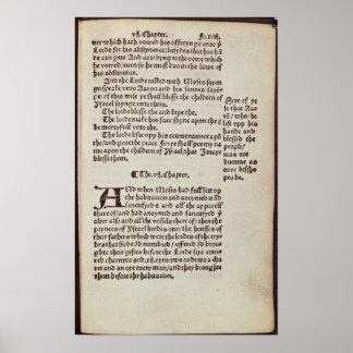 Página del texto del viejo testamento póster