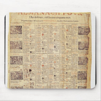 Página delantera de un almanach para 1653 mousepads