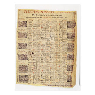 Página delantera de un almanach para 1653 postal