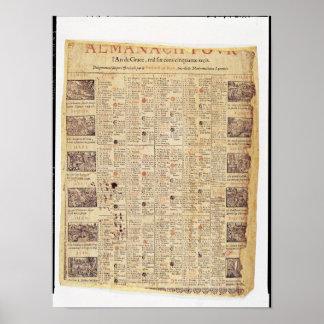 Página delantera de un almanach para 1653 póster