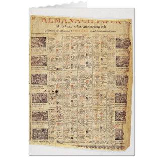 Página delantera de un almanach para 1653 tarjeta de felicitación