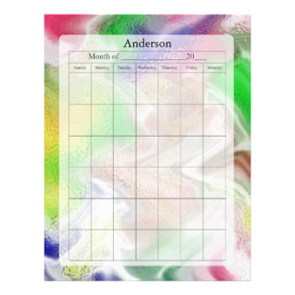 Página en blanco del calendario, diseño borroso de membrete personalizado