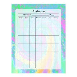 Página en blanco del calendario, diseño en colores plantillas de membrete