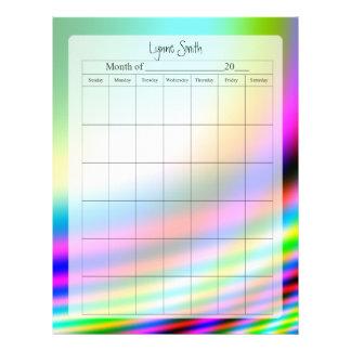Página en blanco del calendario para la escuela, n membrete personalizado