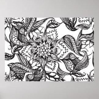 Página floral DIY del colorante de la mandala Póster
