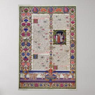 Página iluminada del libro de salmos posters