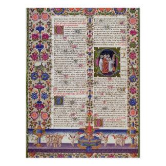Página iluminada del libro de salmos tarjeta postal