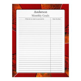Página mensual de la meta membrete
