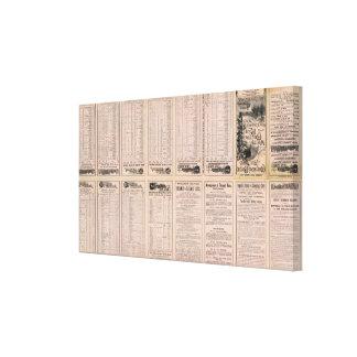Página Montreal del texto y línea de aire de Bosto Lienzo Envuelto Para Galerías
