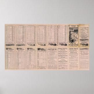 Página Montreal del texto y línea de aire de Bosto Póster