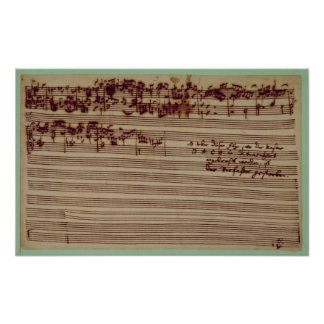 Página pasada del arte de la fuga, 1740s póster