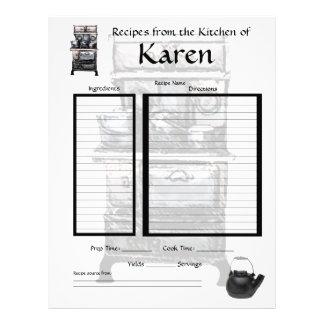 Página personalizada de la receta plantilla de membrete