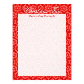 Página roja de las memorias del té del navidad del membretes personalizados
