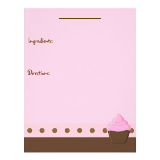 Página rosada de la receta de la magdalena membrete