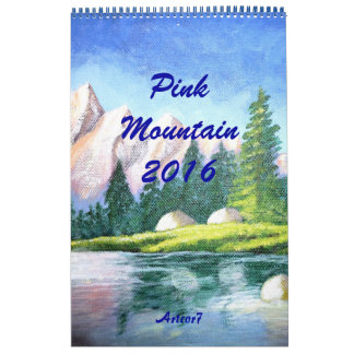 Página simple de la montaña del rosa del arte de calendario de pared