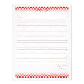 """Páginas a cuadros de la receta del tablero folleto 8.5"""" x 11"""""""