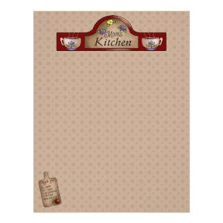 Páginas de la receta de la cocina de la mamá (sin  membrete personalizado