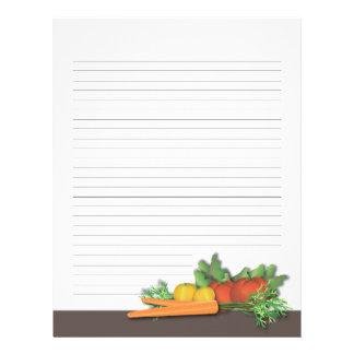 Páginas de la receta del libro de cocina de la plantilla de membrete