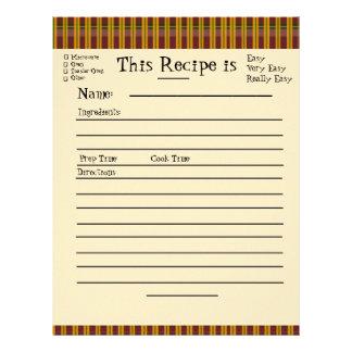 Páginas de la receta para la carpeta de la tela es membrete a diseño