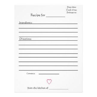 Páginas de la receta para los libros de cocina com plantilla de membrete