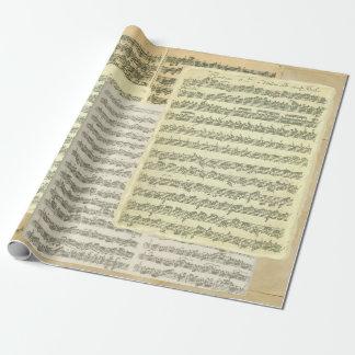 Páginas del manuscrito de la música de Bach Papel De Regalo